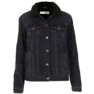 Topshop moto Sherpa lined jean jacket